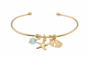 Gold Apatite Sea Charms Cuff Bracelet by Baroni
