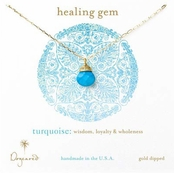 Dogeared Turquoise Briolette Gold Dipped Healing Gem Necklace