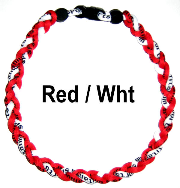"""Power Energy Sports Ionic Titanium Sports Tornado Twister Baseball Necklace 20"""" (Red / White) at Sears.com"""