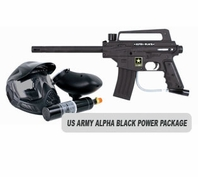 US Army Alpha Black Paintball Marker with Electronic Trigger Basic Power Package