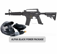 US Army Alpha Black Tactical (with MODS) Paintball Marker and Electronic Trigger Basic Power Package