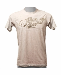 Virtue 2011 T-Shirt-Script Outline Stonewash Denim