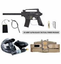 US Army Alpha Black Paintball Marker with Electronic Trigger Tactical Power Package
