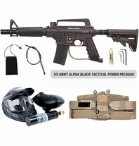 US Army Alpha Black Tactical (with MODS) Paintball Marker and Electronic Trigger Tactical Power Package