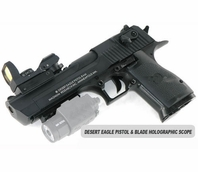 Desert Eagle Paintball Pistol and Blade Holographic Red Dot Scope Package