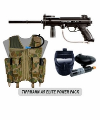 Tippmann A-5 Paintball Marker with Electronic Trigger Elite Power Package