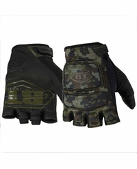 BT ZE Combat Half Finger Paintball Gloves - Woodland Digi