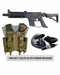 US Army Project Salvo Paintball Marker with Electronic Trigger Elite Power Package