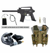 US Army Alpha Black Paintball Marker with Electronic Trigger Elite Power Package