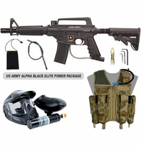 US Army Alpha Black Tactical (with MODS) Paintball Marker and Electronic Trigger Elite Power Package