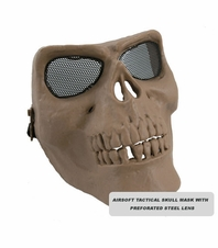 RAP4 Airsoft Tactical Skull Mask with Perforated Steel Lens (Tan)