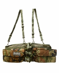 Rap4 Tactical Paintball Harness with Suspenders - Woodland