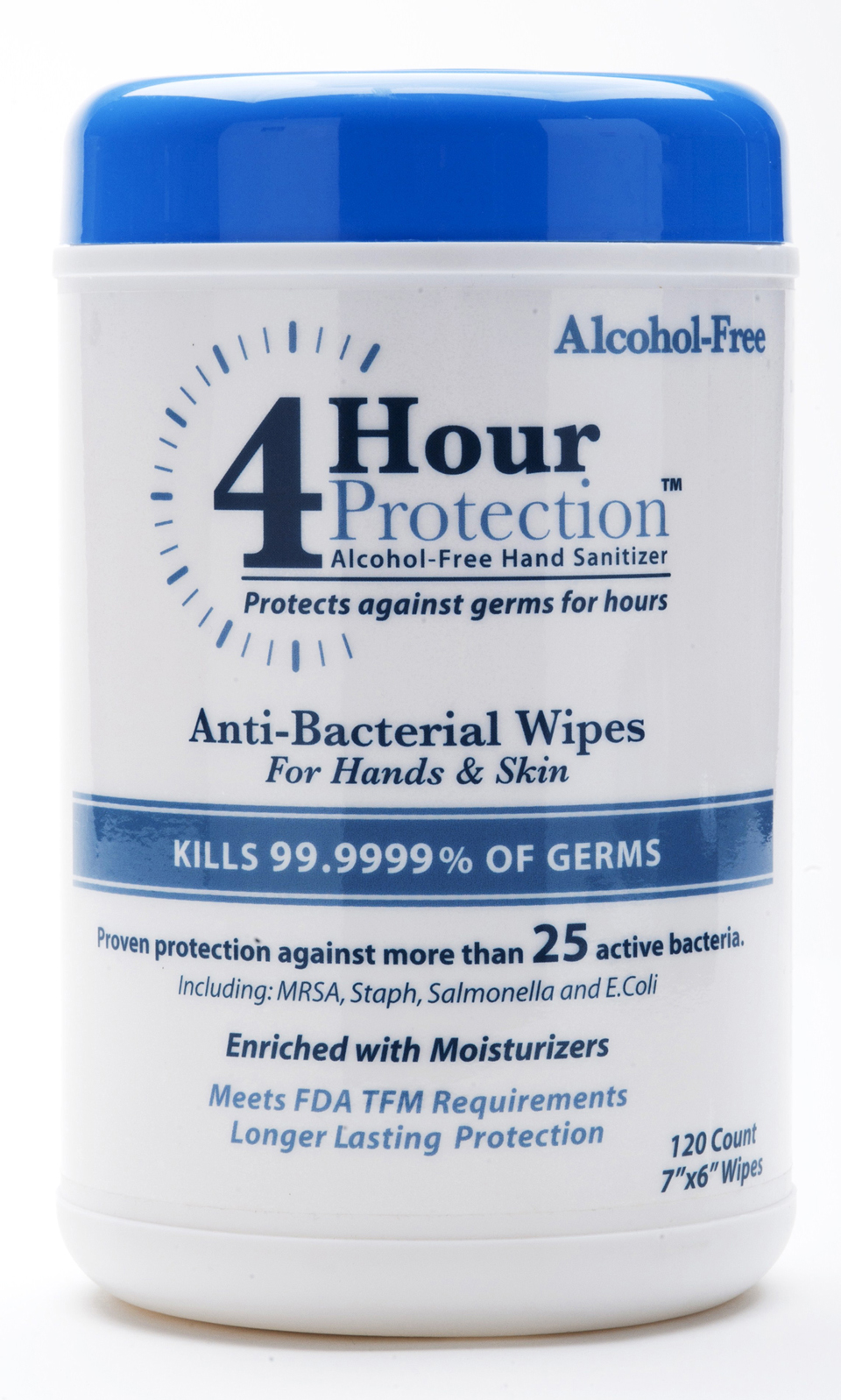 4 Hour Protection:Personal Hand Wipes 120 Count