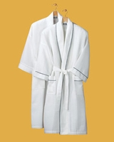 Monogram Anvil Deluxe Cotton Waffle Bathrobe With Contrast Piping