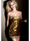 Short  Beaded 2012 Gold Prom Dress 2038