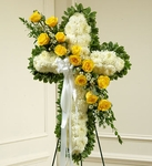 White Cross with Yellow Rose