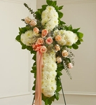 White Cross with Peach Rose