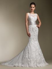 Exquisite Sheer Venice Lace Justin Alexander Couture Bridal Dress 8596