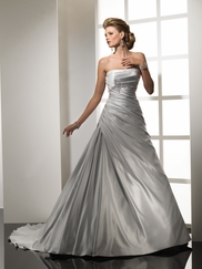 Satin Frosted Silver Wedding Dress Sottero & Midgley pascal