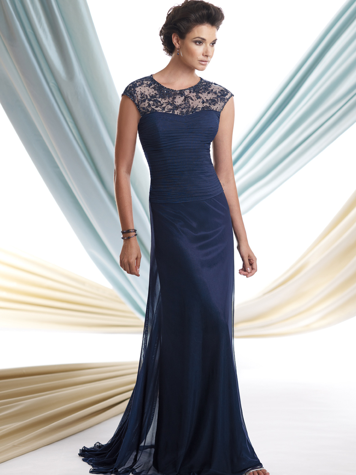 Bateau Neckline A-Line Mon Cheri Montage Mother Of The Bride Dress ...