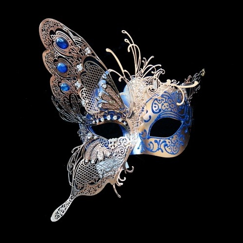 Gold With Blue Accents Venetian Butterfly Mask