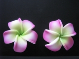 "Mini Petals Plumeria Flower Clip Set  Pink Green 1.25"" Inch"