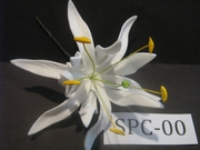 """4.3""""  SPIDER LILY DOUBLE Curved PETALS FLOWER PICK-All White"""