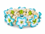 Hawaiian Fimo 8 Flower Stretch Elastic Bracelet Teal