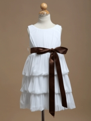 Lillian Flower Girl Dress with Contrast Ribbon Sash