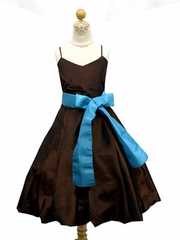 Giselle Chocolate Brown Bubble Hemming Flower Girl Dress