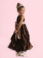Puckered Skirt Taffeta Gown for Flower Girl