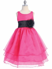 Silvia Black 3-Tier Organza Flower Girl Dress