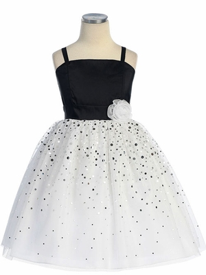 Glitter Mesh  with Spaghetti Straps Flower Girl Dress