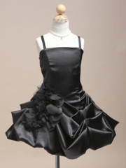 Dashing Black Satin Short Pick-up Style Dress with Matching Bolero