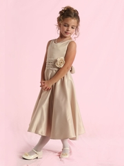 Satin Tea-length Flower Girl Dress