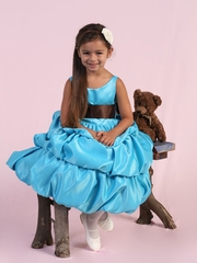 Leslie Satin Bubble Flower Girl Dress