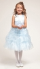 Martha Light Blue Satin Flower Girl Dress