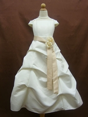 Satin Gathered Flower Girl Dress