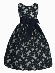 Daisy  Embroidered Lace Dress with Removable Sash