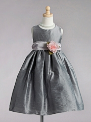 Silver T-Length Taffeta Flower Girl Dress