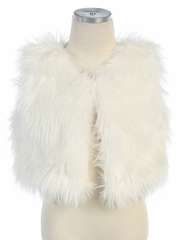 Faux-Fur Vest with Hook & Eye Closure