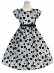 Grey Flocked Polka-Dot Taffeta Dress  with Sleeves
