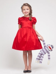 Adriana Ruffled Neckline Holiday Girl Dress