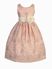 Linda Embroidered Sleeveless Taffeta Dress