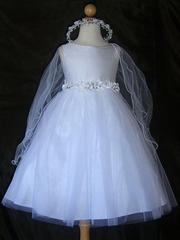 Refine white silk flower girl Dress