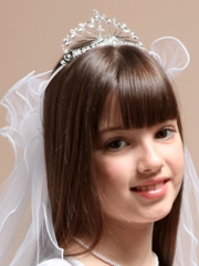 Bethany First Communion Veil with Cross Accented Crown