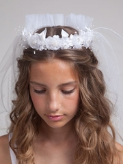 Elise First Communion Veil with Floral Crown