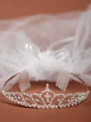 Vivian First Communion Veil with Crown
