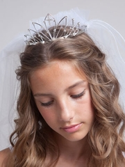 Roxanne First Communion Veil with Crown