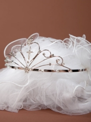 Erika Heart Dangling Cross First Communion Veil
